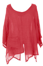 CUT SLASH LAGENLOOK QUIRKY LINEN POCKET TOP LAYERING BOHO ONE SIZE 12-22 - CORAL