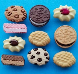 IN THE COOKIE JAR Craft Buttons Chocolate Chip Jammie Dodger Wafer Dress It Up