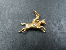 RARE VINTAGE 9ct GOLD HORSE & JOCKEY PENDANT CHARM 1956