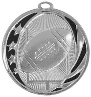 FOOTBALL MEDALS GOLD SILVER BRONZE W/ NECK RIBBON MIDNIGHT STAR DESIGN