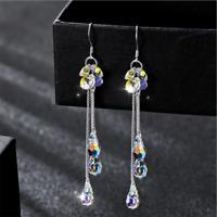 Gorgeous Shiny Rainbow Topaz Tassels Earrings 925 Silver Womens Wedding Jewelry