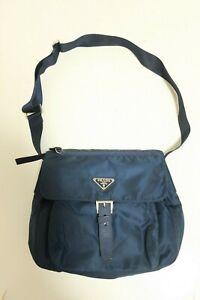 Authentic PRADA Nylon Blue crossbody Shoulder bag #8073