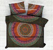 Mandala Indiano Regina Misura Set da Letto Bohémien Hippie Lenzuolo Copriletto
