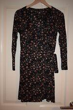 Top Shop Black & Gold Stars Print Small Pleated Wrap Style Dress Christmas  UK 6