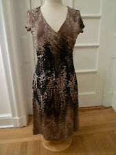 BCBG Max Azria Taupe/Tan/Black Floral Print, Cap Sleeve, V-neck  Dress, Medium