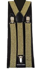 Unisex Gold Glitter Glittered Adjustable Y-Style Back suspenders-New in Package