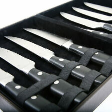 Gourmet Settings Steak Knives Knife 8 piece service Butcher Block & Leather Case