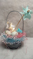 Mini Easter Basket Faux White Chocolate Bunny Rabbit & Ornaments~TableScape