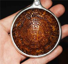 Tibetan old antique zodiac buddhist pendant kapala skull amulet mandala thangka