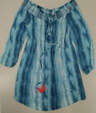 Dizzy Lizzy Tie Dye Dress Cruise Size Small S Blue Easter Off the Shoulder NWOT