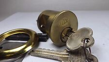 Rare NOS Original Independent Lock Brass 6 Pin Cylinder 2 Working Keys S + Parts