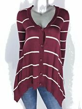 Hippie Rose Sweater V neck Button Asymmetrical Long Sleeve Stripe Maroon Size Sm