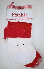 Pottery Barn Kids Quilted Gingham Santa Claus Christmas Stocking w/ name FRANKIE