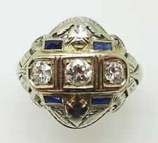 14k Gold Art Deco Diamond Filigree Ring with Sapphires (#3457)