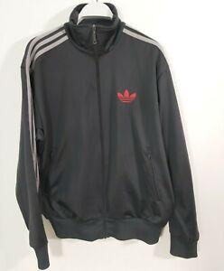 Adidas Mens Medium Black Red Logo Tracksuit Jacket Retro Grey Stripes Trefoil
