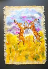 Hares, Boxing Hares, March Hares - Needle Felted Painting, OOAK - made to order