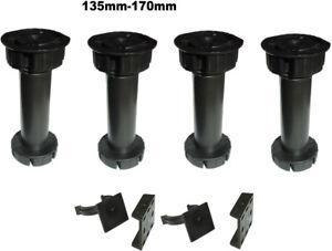 Küchenfüße Verstellfüße 4er Set Sockelfüße 135 mm - 170 mm Möbelfüße