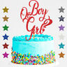 Gender Reveal Glitter Cake Topper Boy or Girl Baby Shower He or She