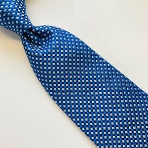 1A) THOMAS PINK BLUE GEOMETRIC 100% SILK NECKTIE MADE IN FRANCE