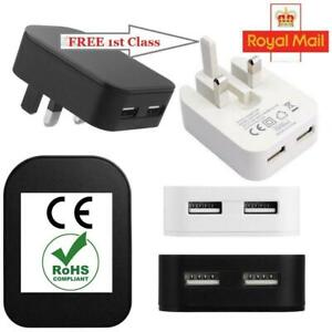 UK Plug Dual 2 Ports USB Fast Charger 2.1A Adapter for iPad Tablet Mobile Phones