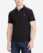Polo Ralph Lauren  Men's Custom Slim-Fit Cotton Mesh Polo Shirt-BLACK-LARGE-NWT