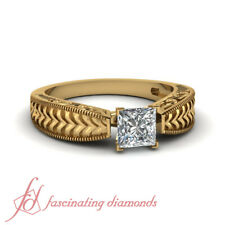1 Carat GIA Certified Princess Cut Diamond Solitaire Engraved Engagement Ring