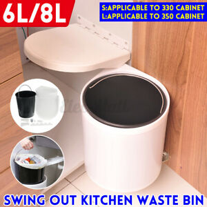 Swing Out Rotating Wall Mounted Waste Bin Kitchen Cabinet Door Hanging Trash Can
