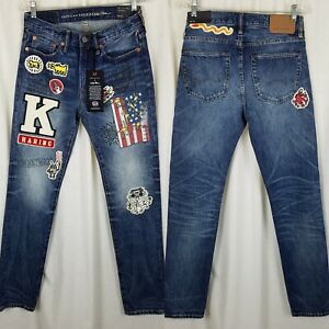 American Eagle X Keith Haring Graphique Patchs Slim Jeans Bleu Hommes 28x32