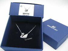 Swarovski Swan Necklace, Rhodium-Plated Clear Crystal Authentic MIB - 5007735