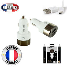 Chargeur Voiture Blanc Allume Cigare Double USB Connecteur Micro USB 2.4A 12V