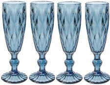 Set di 4 Bicchieri da Champagne Blu Alto Flauti taglio intricato modello di vetro vintage