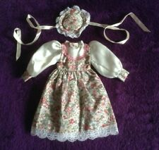 Doll's Dress and Hat, Floral, 10 inches from shoulder to hem