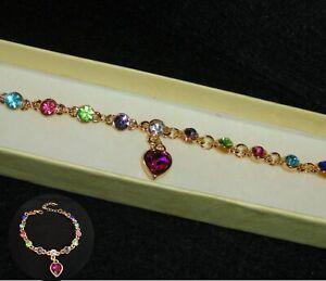 Yellow Gold GF Sim Sapphire Multi colour Tennis Bracelet, Holiday Jewellery