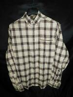 Cabela's L Brown Yellow White Plaid Flannel Shirt Button Down Long Sleeve Mens