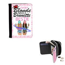 Every Blonde Needs A Brunette Bestie, Girls, Ladies Denim Purse 12cm x 9cm