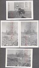 Lot of 4 Vintage Photos Northwest Logging Boy Chopping Down Tree 759544