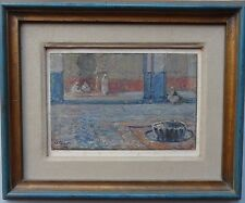 ULISSE CAPUTO 1872-1948 VERY FINE ORIGINAL SIGNED OIL PAINTING 'COURTYARD SCENE'