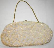 Beautiful 1950's Crown Colony Hong Kong Beaded Evening Bag/Purse! Cream & White