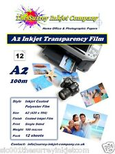 A2 Inkjet Transparency Acetate film 100 micron 12 SHEETS