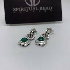 David Yurman Sterling Silver Albion Green Onyx Drop Earrings