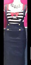 Rockabilly Pinup Nautical High Waist Denim Pencil Skirt Overalls Straps Size XL