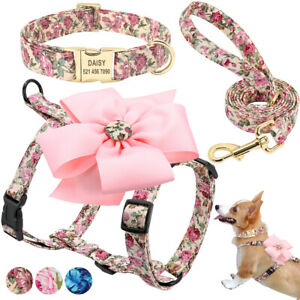 Flower Dog Harness Personalized Floral Collar and Leash Set Soft Padded Female