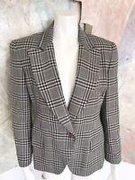 Jones New York Wool Black Cream Herringbone Womens Blazer Jacket 8P / 8 P