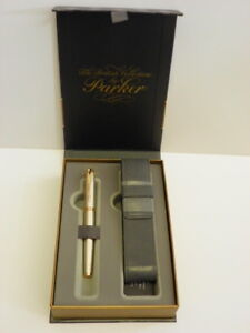 Parker fountain pen Premium Warm Silver GT in gift box with leather Parker case