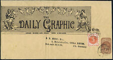 1894 The Daily Graphic News Wrapper fine used to Germany 1/2d perfin Rare