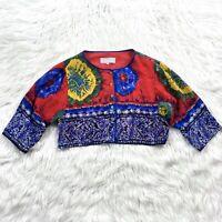 VTG 90's Platinum By Dorothy Schoelen Avant Garde Cropped Tie Dye Jacket L