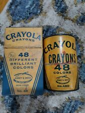 New listing Vintage Crayola Crayons Binney and Smith Pack of 48 and Empty Round Box