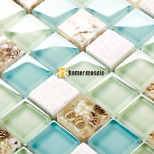blue glass mixed white stone sea shell kitchen backsplash mosaic tiles HMGM1148