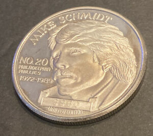 MIKE SCHMIDT~ 1 TROY OUNCE FINE SILVER #'d BASEBALL COIN PLAYER OF DECADE 1990
