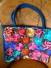 """18"""" Ethnic Guatemala Embroidered Tote Market Travel Bag Purse Floral Chiapis"""